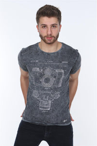 Anthracite Stone Washed Camera Patent Printed Cotton T-shirt Tee Top Timya Wholesale S-Ponder