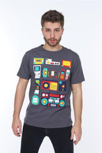 Load image into Gallery viewer, Grey Technology Nostalgia Printed Cotton Men T-Shirt Tee Top Timya Wholesale S-Ponder