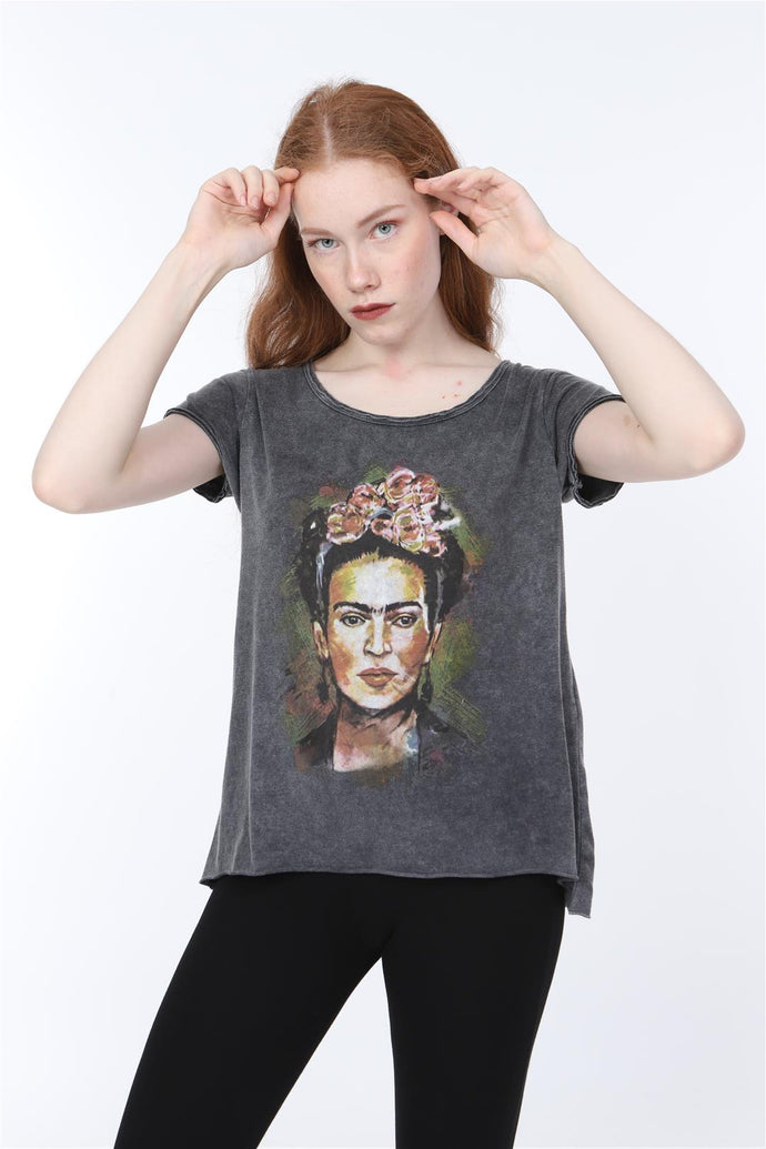 Anthracite Stone Washed Frida Kahlo Printed Cotton Women T-shirt Loose Cut Tee Top Timya Wholesale S-Ponder