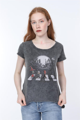 Black Anthracite Stone Washed The Nightmare before the Christmas Printed Cotton Women T-shirt Tee Top Timya Wholesale S-Ponder