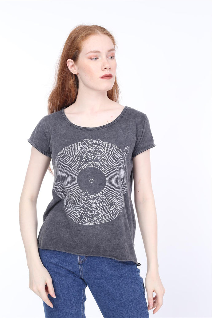 Anthracite Stone Washed Joy Division Printed Cotton Women Scoop Neck T-shirt Tee Top Timya Wholesale S-Ponder