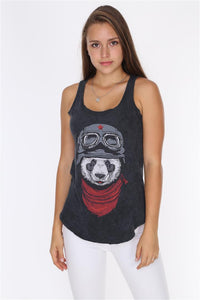 Anthracite Stone Washed Panda Pilot Printed Cotton Women Vest Tank Top Timya Wholesale S-Ponder
