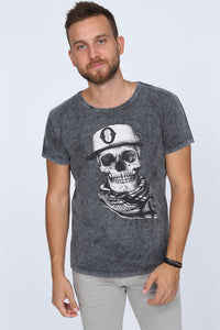 Anthracite Stone Washed Scarf Skull Printed Cotton T-shirt Tee Top Timya Wholesale S-Ponder