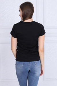 Black Search Engine Bicycle Printed Cotton Women T-shirt