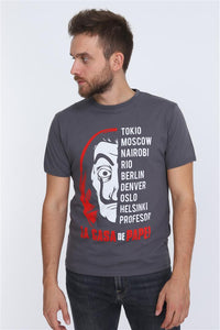 Grey Anthracite La Casa de Papel (Money Heist) Printed Cotton T-Shirt Tee Top Timya Wholesale S-Ponder