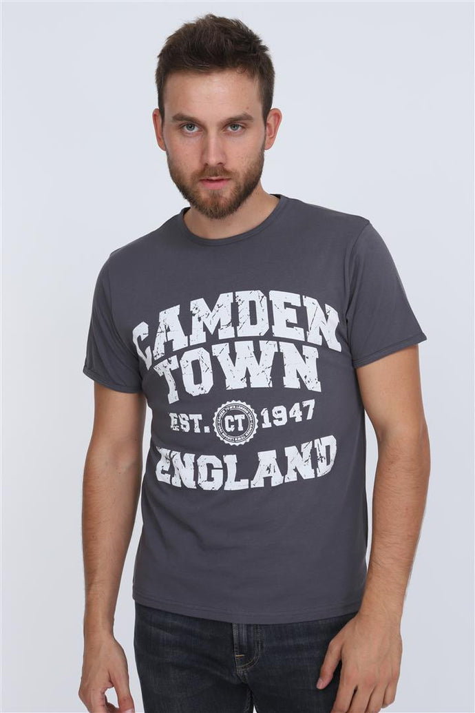 Anthracite Camden Town Printed Cotton Men T-Shirt Tee Top Timya Wholesale S-ponder