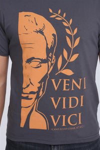 Grey Julius Caesar Slogan Veni Vidi Vici Printed Cotton Men T-Shirt Tee Top Timya Wholesale S-Ponder
