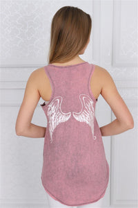 White Angel Wings Printed Cotton Women Vest