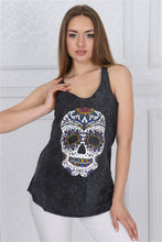 Load image into Gallery viewer, Anthracite Stone Washed Mexican Skull Printed Cotton Women Vest Tank Top timya Wholesale S-Ponder