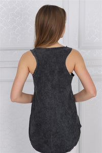 Anthracite Stone Washed Mexican Skull Printed Cotton Women Vest