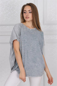 Grey Stone Washed Angel Wings Printed Cotton Women Balloon T-Shirt