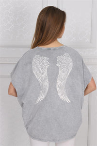 Grey Stone Washed Angel Wings Printed Cotton Women Balloon T-Shirt Tee Top Blousse Timya Wholesale S-Ponder