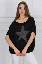 Load image into Gallery viewer, Black Sparkle Star Cotton Women Loose Fit T-Shirt Tee Top Blouse Timya Wholesale S-Ponder