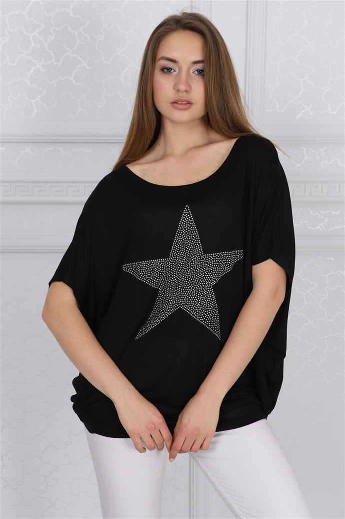 Black Sparkle Star Cotton Women Loose Fit T-Shirt Tee Top Blouse Timya Wholesale S-Ponder