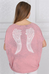Pink Stone Washed Angel Wings Faded Printed Cotton Women Balloon T-Shirt Tee Top Blousse Timya Wholesale S-Ponder