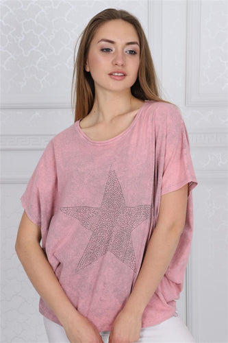 Pink Sparkle Star Cotton Women Balloon T-Shirt Tee Top Blousse Timya Wholesale S-Ponder