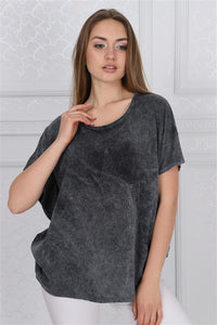 Black Anthracite Stone Washed Sparkle Star Cotton Women Balloon Cut T-Shirt Tee Top Timya Wholesale S-Ponder