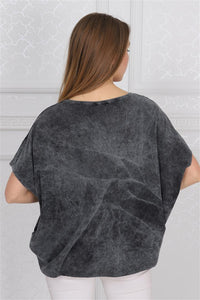 Anthracite Stone Washed Sparkle Star Cotton Women Balloon Cut T-Shirt