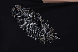 Black Big Feather Cotton Women Balloon T-Shirt Tee Top Timya Wholesale S-Ponder
