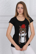 Load image into Gallery viewer, Black Red Hat Cat Animal Printed Cotton Women T-shirt Tee Top Timya Wholesale S-Ponder