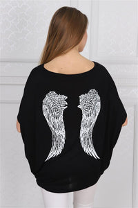 Pink Stone Washed Angel Wings Printed Cotton Women Balloon T-Shirt
