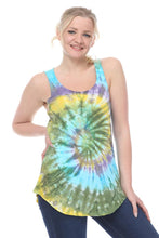 Load image into Gallery viewer, Blue Round Tie Dye Cotton Women Vest Tank Top Timya Wholesale S-Ponder