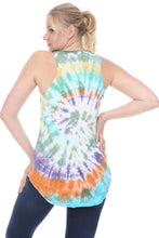 Load image into Gallery viewer, Yellow Round Tie Dye Cotton Women Vest