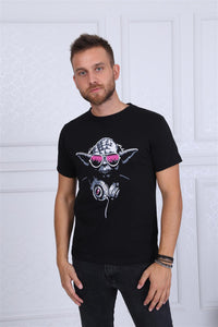 Black Dj Yoda Master Star Wars Printed Cotton T-shirt Tee Top Timya Wholesale S-Ponder
