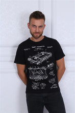 Load image into Gallery viewer, Black Vintage Cassette Patent Printed Cotton T-Shirt Tee Top Timya Wholesale S-Ponder