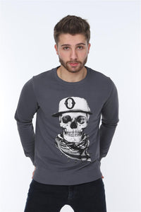 Grey Scarf Skull Printed Cotton Sweatshirt Timya Wholesale S-Ponder