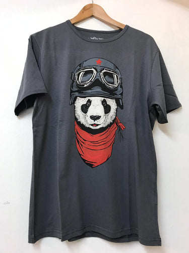Anthracite Panda Pilot Printed Cotton Men T-Shirt Tee Top Timya Wholesale S-Ponder