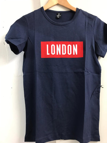 Navy London Cotton Kids Child Junior T-Shirt Tee Top Timya Wholesale S-Ponder