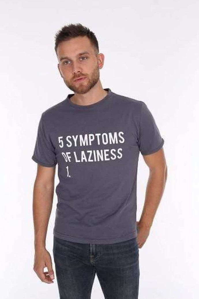 Anthracite 5 Symptoms of Laziness Printed Cotton Men T-Shirt Tee Top Timya S-ponder Wholesale