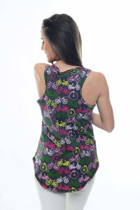 Anthracite All Over Bicycle Printed Cotton Women Vest - S-Ponder Shop