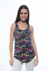 Anthracite All Over Bicycle Printed Cotton Women Vest Tank Top S-Ponder Timya Wholesale