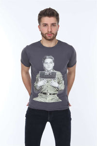 Anthracite Elvis Presley Mugshot Printed Cotton T-Shirt Tee Top Timya Wholesale S-Ponder