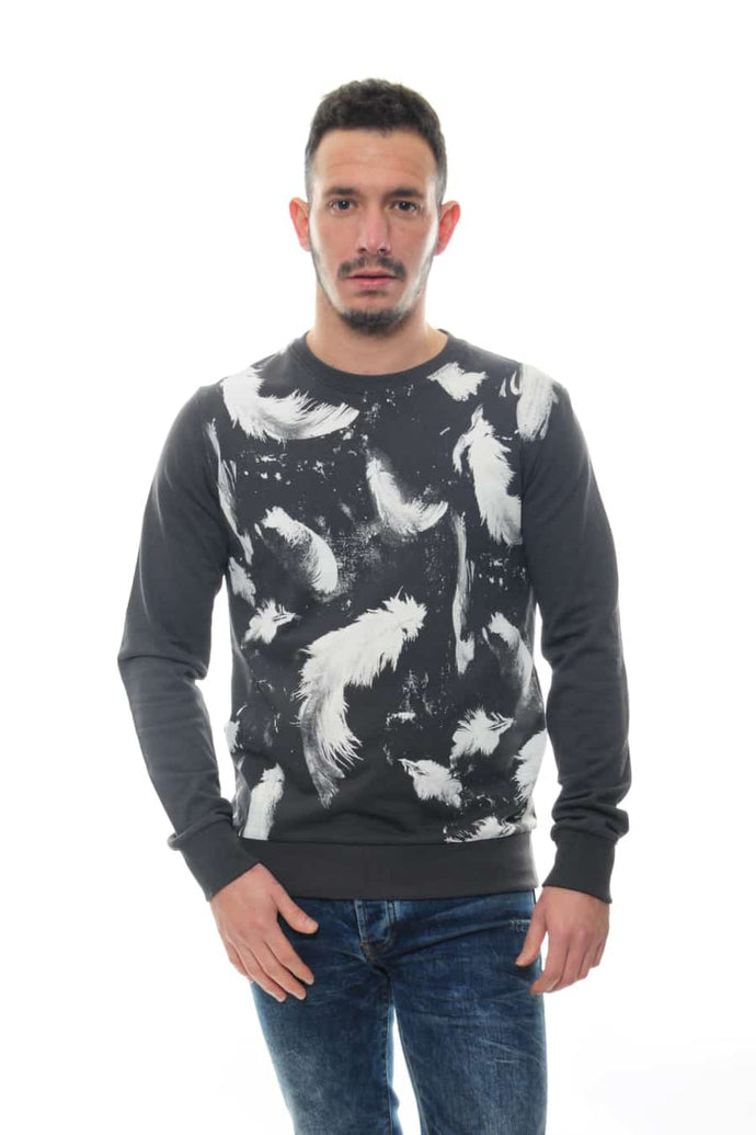 Anthracite Feather Printed Cotton Sweatshirt Timya Wholesale S-ponder