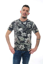 Load image into Gallery viewer, Grey Anthracite Flower Skull Full Printed Cotton T-Shirt Tee Top Timya Wholesale S-Ponder