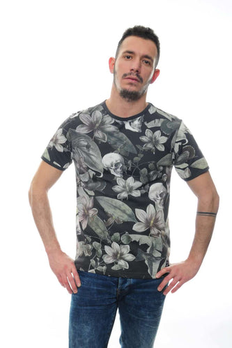 Grey Anthracite Flower Skull Full Printed Cotton T-Shirt Tee Top Timya Wholesale S-Ponder