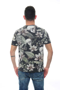 Anthracite Flower Skull Full Printed Cotton T-Shirt - S-Ponder Shop