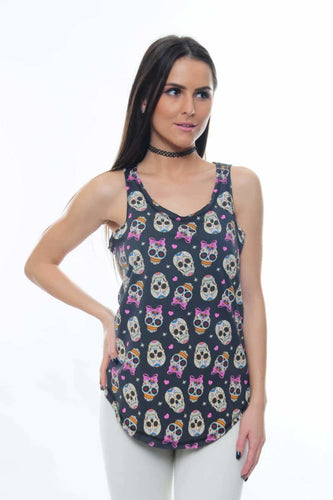 Anthracite Full Mexican Skull Printed Cotton Women Vest Tank Top Timya Wholesale S-Ponder