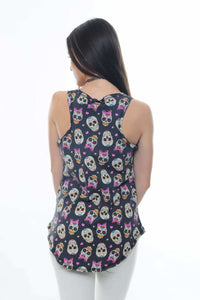 Anthracite Full Mexican Skull Printed Cotton Women Vest - S-Ponder Shop