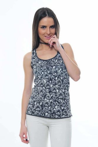Anthracite Full Tiger Printed Cotton Tank Top Vest Timya Wholesale S-Ponder