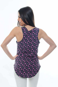 Anthracite Pink Stars All Over Printed Cotton Vest - S-Ponder Shop