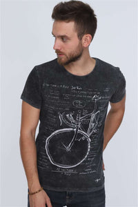 Black Anthracite Stone Washed Bicycle Printed Cotton T-shirt Tee Top Timya Wholesale S-Ponder
