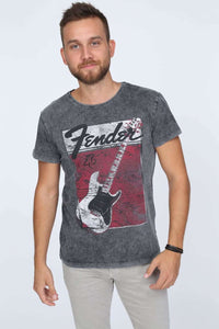 Anthracite Stone Washed Fender Guitar Printed Cotton T-shirt Tee Top Timya Wholesale S-Ponder