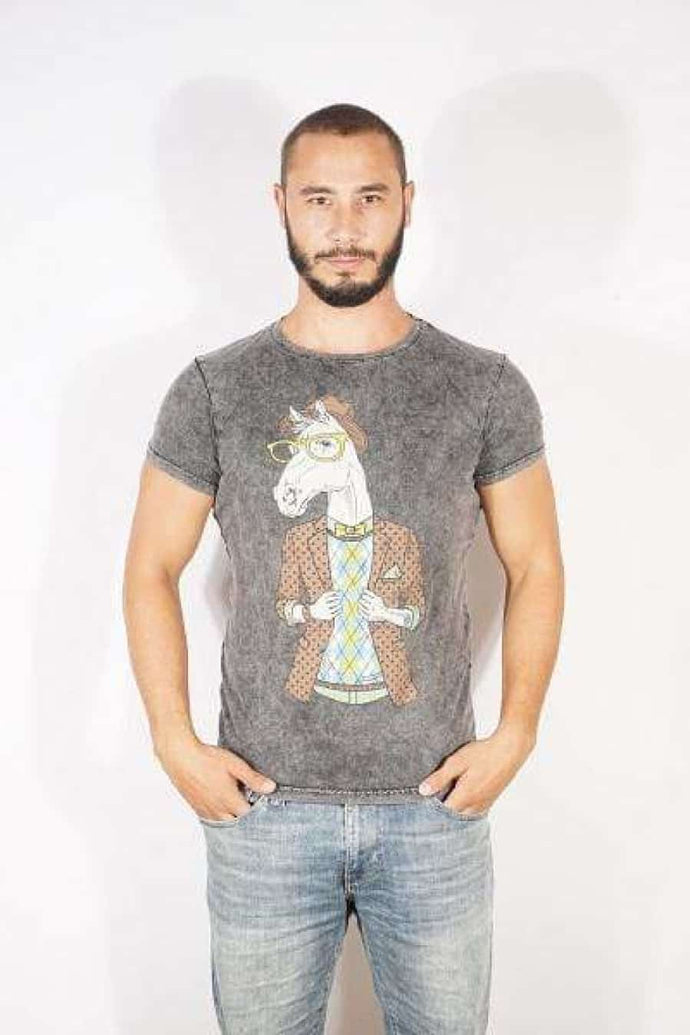 Anthracite Stone Washed Horse Printed Cotton T-shirt Tee Top Timya Wholesale S-Ponder