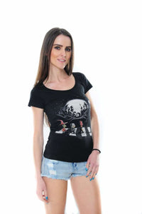 Black Abbey Road The Nightmare Before Christmas Movie Printed Cotton Women T-shirt Tee Top Timya Wholesale S-Ponder