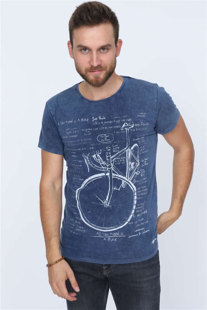 Blue Navy Stone Washed Bicycle Printed Cotton T-shirt Tee Top Timya Wholesale S-Ponder