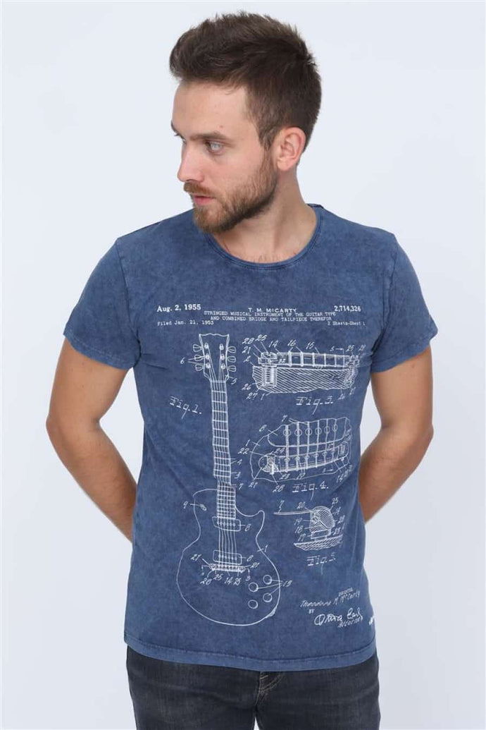 Blue Navy Stone Washed T.M McCARTY Guitar Patent Printed Cotton T-Shirt Tee Top Timya Wholesale S-Ponder